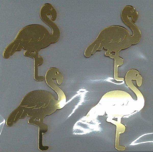 Aplique Flamingo Ace Dourado Festa Tropical 6cm - 4 Unidades - Vivart Rizzo Festas