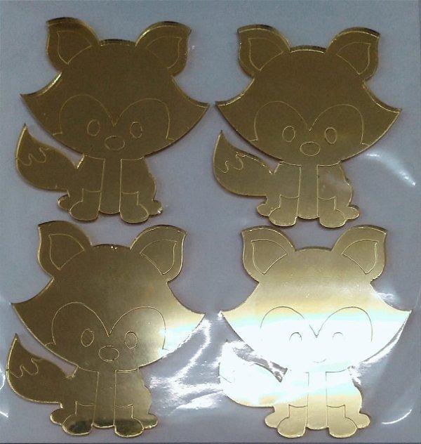 Aplique Raposa em Pé Ace Dourado 6cm - 4 Unidades - Vivart Rizzo Festas