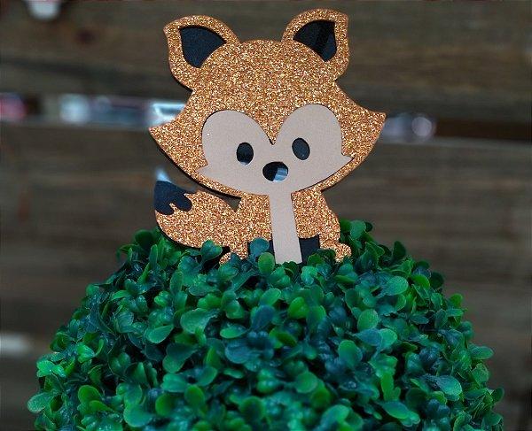 Aplique Raposa com Glitter 4cm - 4 Unidades - Vivart Rizzo Festas