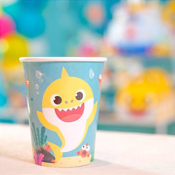 Copo de Papel Festa Baby Shark 240ml - 8 unidades - Cromus - Rizzo Festas