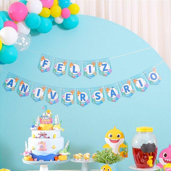 Faixa Feliz Aniversário Festa Baby Shark - Cromus - Rizzo Festas
