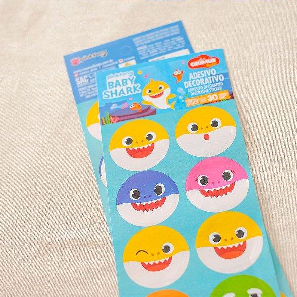 Adesivo Redondo para Lembrancinha Festa Baby Shark - 30 unidades - Cromus - Rizzo Festas
