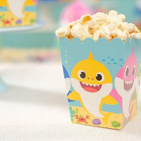 Caixa Pipoca Festa Baby Shark - 10 unidades - Cromus - Rizzo Festas