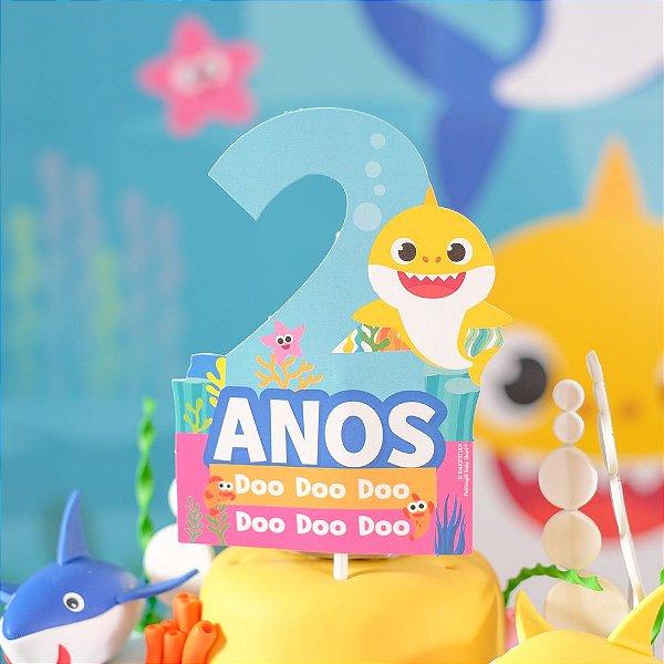 Topo de Bolo 2 Anos Festa Baby Shark - 1 Unidade - Cromus - Rizzo Festas