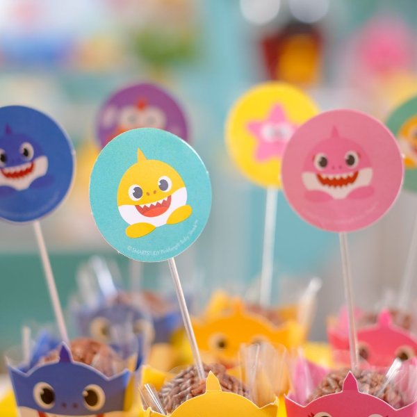 Pick Decorativo Festa Baby Shark - 12 Unidades - Cromus - Rizzo Festas