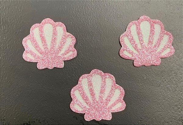 Aplique de EVA Concha Rosa P Glitter 6,5cm - 06 Unidades - Make Festas Rizzo Festas