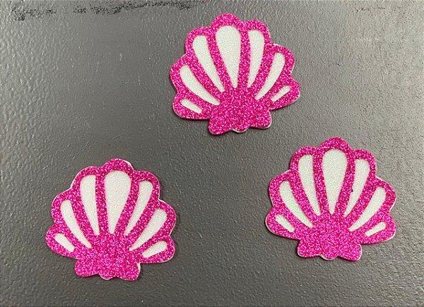 Aplique de EVA Concha Pink P Glitter 6,5cm - 03 Unidades - Make Festas Rizzo Festas