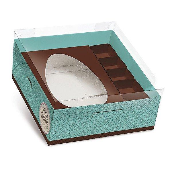 Caixa Practice para Meio Ovo M 350g com Bombons Chocolatier Turquesa 06 unidades - Cromus Páscoa - Rizzo Embalagens