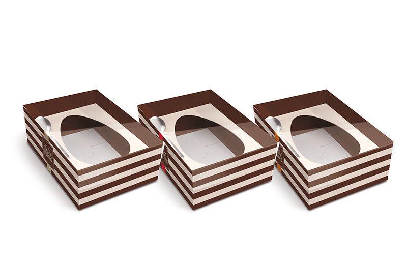 Caixa New Practice Com Colher para Meio Ovo M 350g Hit Sortido 06 unidades - Cromus Páscoa - Rizzo Embalagens