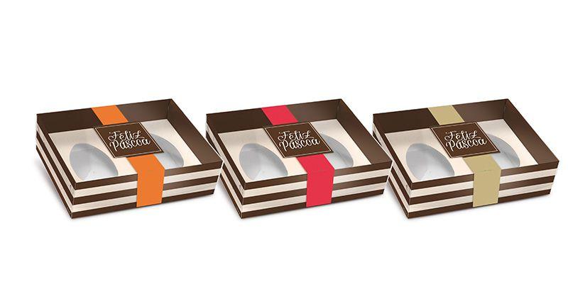 Caixa New Practice Com Colher para Dois Meio Ovo Mini 50g Hit Sortido 06 unidades - Cromus Páscoa - Rizzo Embalagens