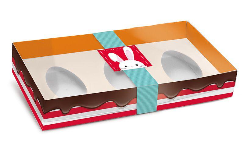 Caixa New Practice de Colher para Três Meio Ovo Mini 50g Adoleta 06 unidades - Cromus Páscoa - Rizzo Embalagens