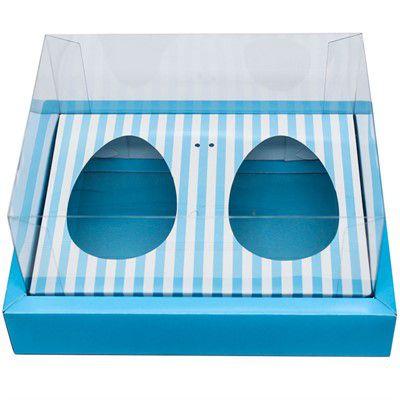 Caixa Ovo de Colher Duplo Com Moldura - Meio Ovo de 100g a 150g - 20x15,5x10cm - Listras Azul - 5unidades - Assk - Páscoa Rizzo Embalagens