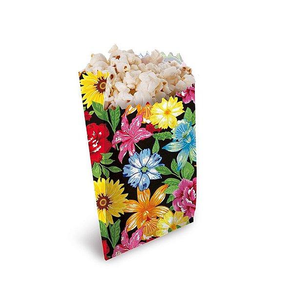 Saquinho para Pipoca e Hot Dog Floral 14x8x4cm Festa Junina - 50 unidades - Cromus - Rizzo Festas