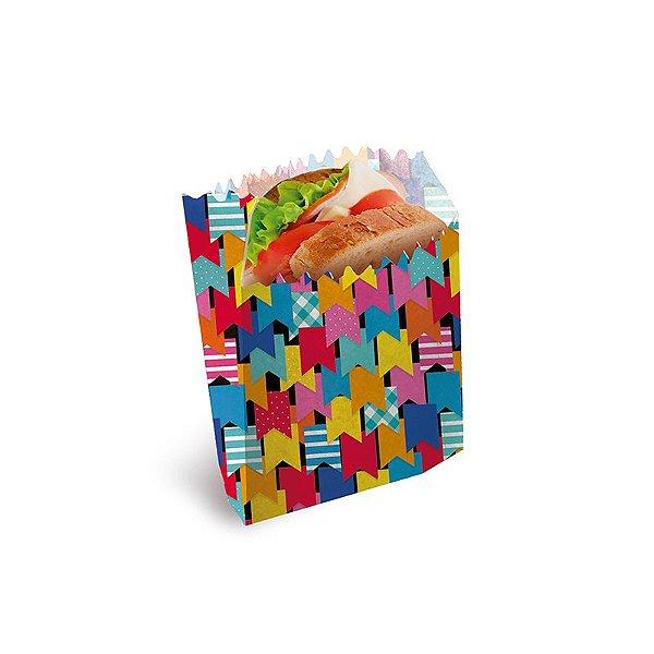 Saquinho para Lanche Bandeirinhas 10x8x4cm Festa Junina - 50 unidades - Cromus - Rizzo Festas