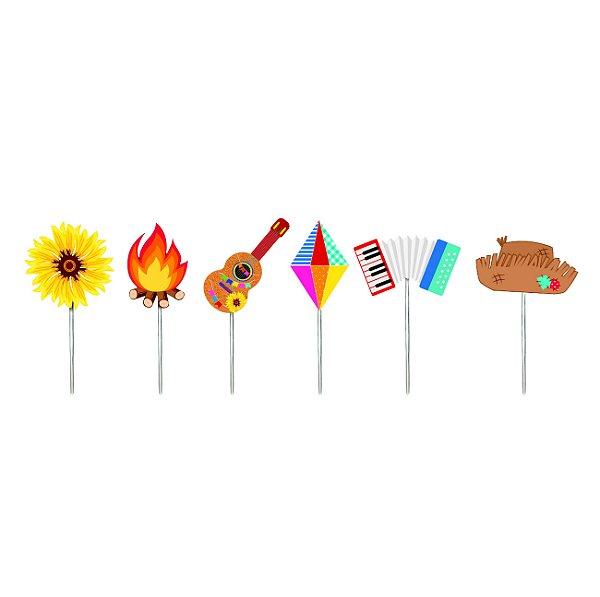 Pick Decorativo Sortido Quadrilha Festa Junina - 12 unidades - Cromus - Rizzo Festas