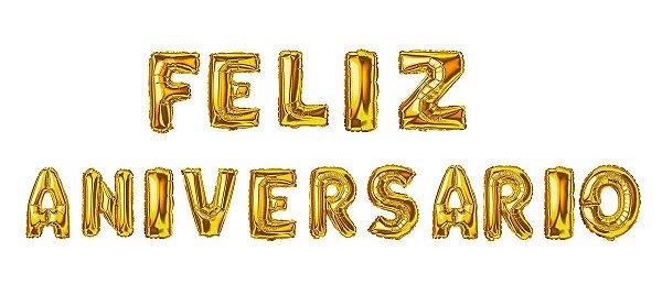 Kit Balão Metalizado Feliz Aniversário Ouro - 16'' - DBCY - Rizzo festas