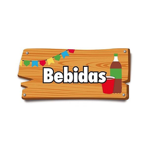 Placa de Sinalização Bebidas Festa Junina - 01 unidade - Cromus - Rizzo Festas