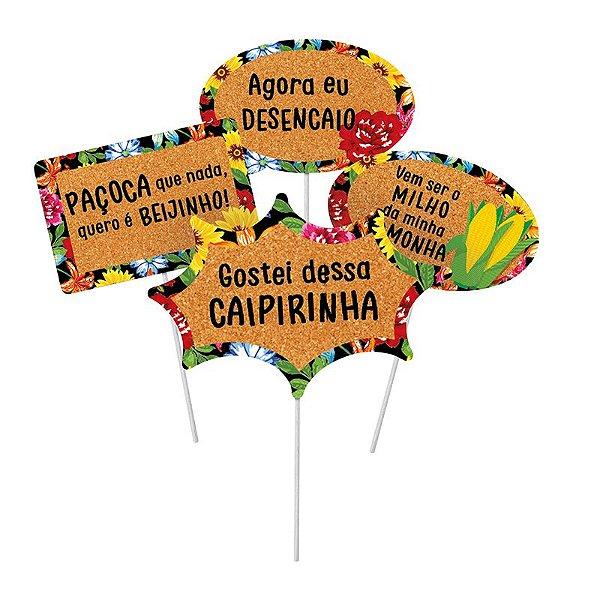 Plaquinhas Divertidas Quadrilha Festa Junina - 08 unidades - Cromus - Rizzo Festas