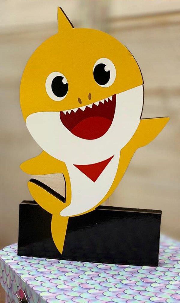 Enfeite de Mesa em Madeira Festa Baby Shark Amarelo - 1 Unidade - Rizzo Festas