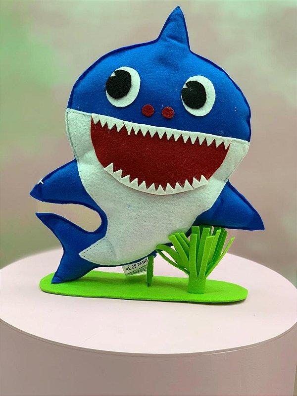 Enfeite de Mesa em Feltro Festa Baby Shark Azul - 1 Unidade - Rizzo Festas