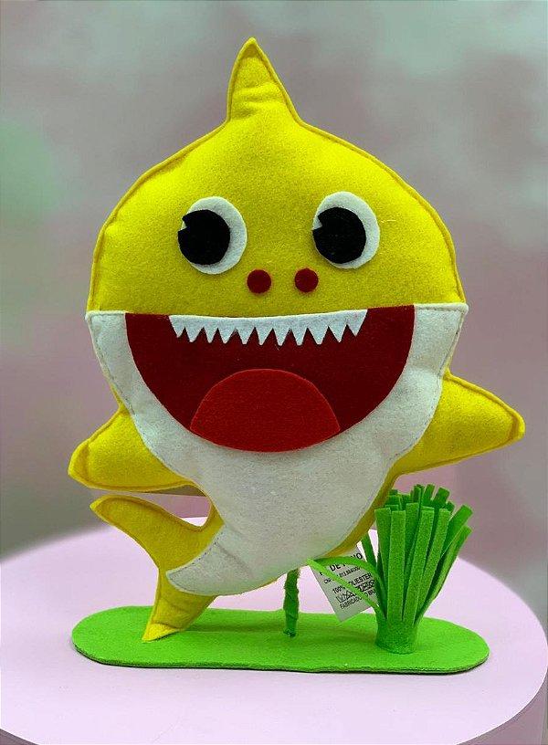 Enfeite de Mesa em Feltro Festa Baby Shark Amarelo - 1 Unidade - Rizzo Festas