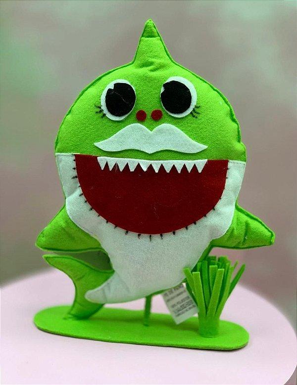 Enfeite de Mesa em Feltro Festa Baby Shark Verde - 1 Unidade - Rizzo Festas
