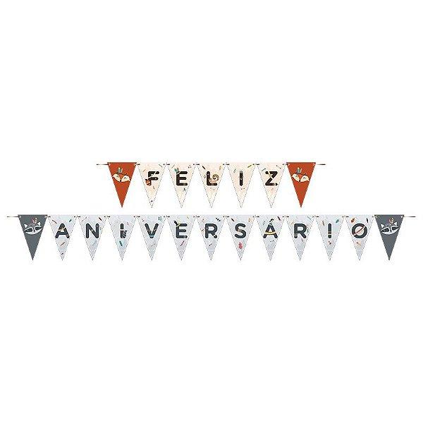 Faixa Feliz Aniversário Festa Raposa - Junco - Rizzo Festas