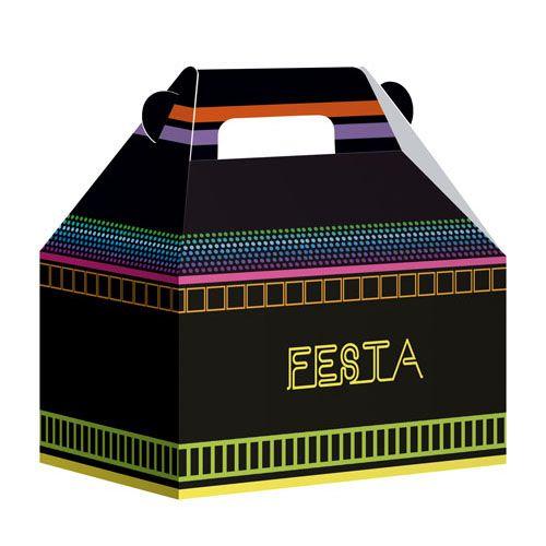 Caixa Maleta Festa Neon - 8 unidades - Junco - Rizzo Festas