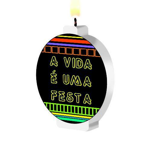 Vela Festa Neon - 1 Unidade - Junco - Rizzo Festas