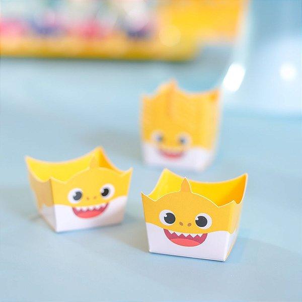 Forminha para doces Cachepot Festa Baby Shark Amarelo - 24 Unidades - Cromus - Rizzo Festas