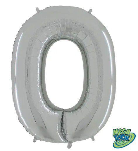 Balão Metalizado Número - 0 - Prata - (40'' Aprox 100cm) - Rizzo Embalagens