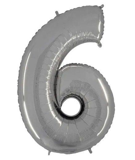 Balão Metalizado Número - 6 - Prata - (40'' Aprox 100cm) - Rizzo Embalagens