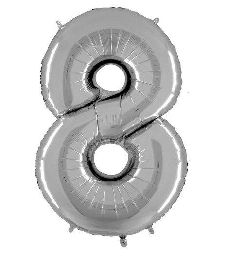 Balão Metalizado Número - 8 - Prata - (40'' Aprox 100cm) - Rizzo Embalagens