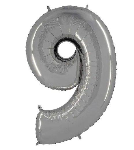 Balão Metalizado Número - 9 - Prata - (40'' Aprox 100cm) - Rizzo Embalagens