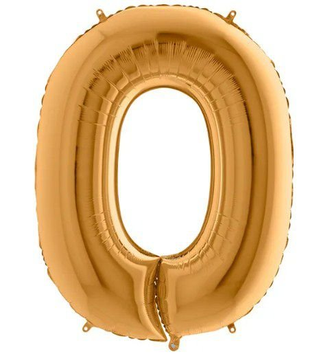 Balão Metalizado Número - 0 - Ouro - (40'' Aprox 100cm) - Rizzo Embalagens