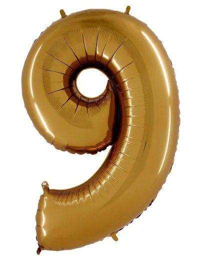 Balão Metalizado Número - 9 - Ouro - (40'' Aprox 100cm) - Rizzo Embalagens