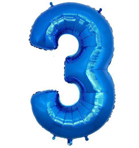 Balão Metalizado Número - 3 - Azul - (40'' Aprox 100cm) - Rizzo Embalagens