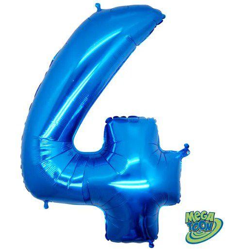 Balão Metalizado Número - 4 - Azul - (40'' Aprox 100cm) - Rizzo Embalagens
