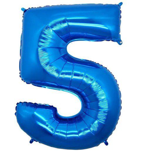 Balão Metalizado Número - 5 - Azul - (40'' Aprox 100cm) - Rizzo Embalagens