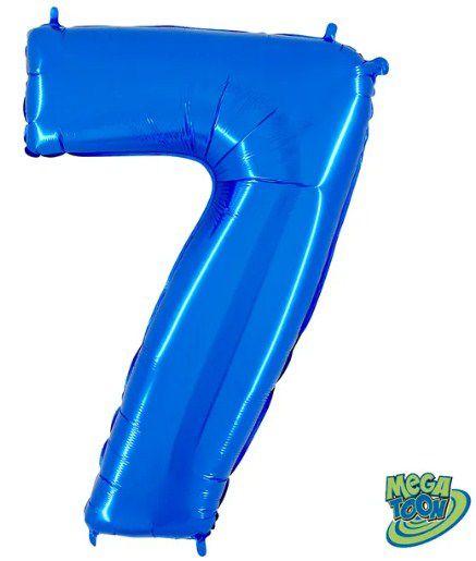 Balão Metalizado Número - 7 - Azul - (40'' Aprox 100cm) - Rizzo Embalagens