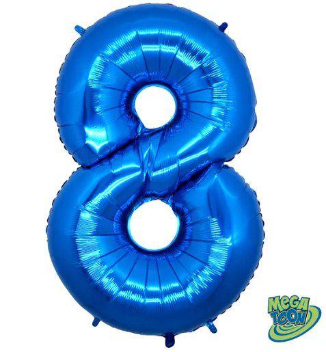 Balão Metalizado Número - 8 - Azul - (40'' Aprox 100cm) - Rizzo Embalagens
