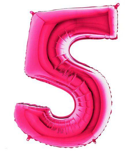 Balão Metalizado Número - 5 - Rosa - (40'' Aprox 100cm) - Rizzo Embalagens