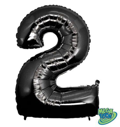 Balão Metalizado Número - 2 - Preto - (40'' Aprox 100cm) - Rizzo Embalagens
