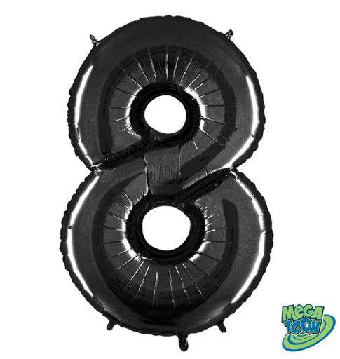 Balão Metalizado Número - 8 - Preto - (40'' Aprox 100cm) - Rizzo Embalagens