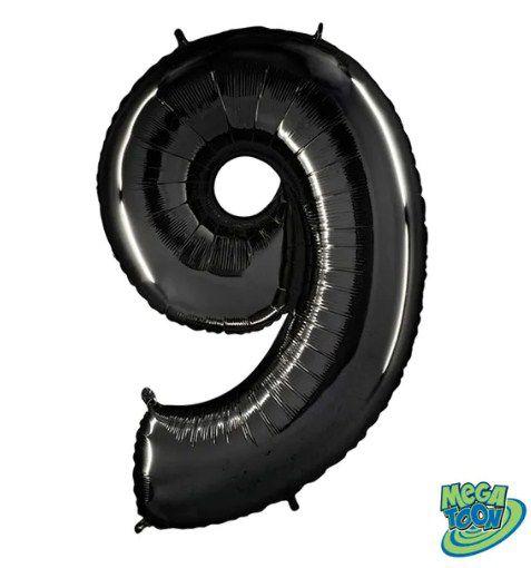 Balão Metalizado Número - 9 - Preto - (40'' Aprox 100cm) - Rizzo Embalagens