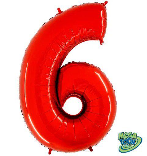 Balão Metalizado Número - 6 - Vermelho - (40'' Aprox 100cm) - Rizzo Embalagens