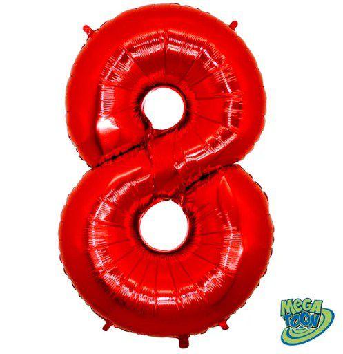 Balão Metalizado Número - 8 - Vermelho - (40'' Aprox 100cm) - Rizzo Embalagens