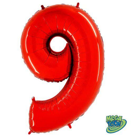 Balão Metalizado Número - 9 - Vermelho - (40'' Aprox 100cm) - Rizzo Embalagens