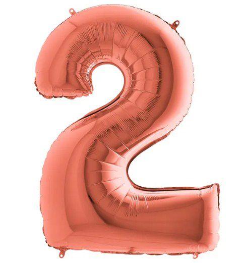 Balão Metalizado Número - 2 - Rosê Gold - (40'' Aprox 100cm) - Rizzo Embalagens