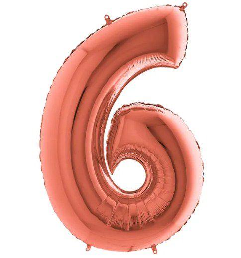 Balão Metalizado Número - 6 - Rosê Gold - (40'' Aprox 100cm) - Rizzo Embalagens